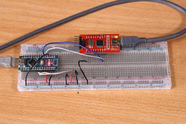 Percobaan software serial dengan arduino nano dan modul USB to serial converter di breadboard