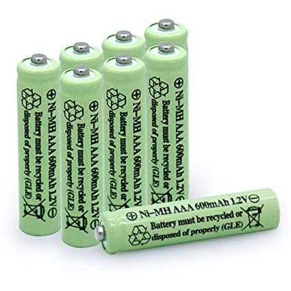 Baterai AAA tipe NiMH kapasitas 600 mAh warna hijau