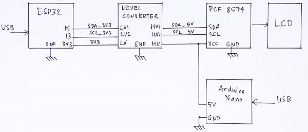 Skema rangkaian ESP32 Lolin32 Lite dengan LCD I2C