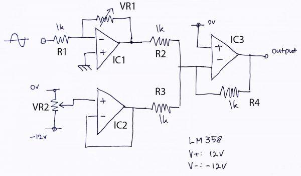 Rangkaian Pengkondisi Sinyal ADC dengan 3 buah op-amp